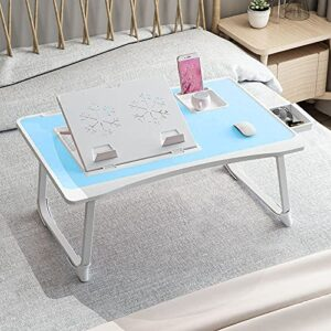 GoRogue Laptop Desk for Bed, Ventilated Angle Adjustable Notebook Stand with Cup, Mobile, Tablet Holder (Blue)