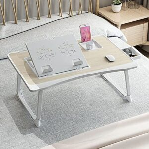 GoRogue Laptop Desk for Bed, Ventilated Angle Adjustable Notebook Stand with Cup, Mobile, Tablet Holder (Beige)